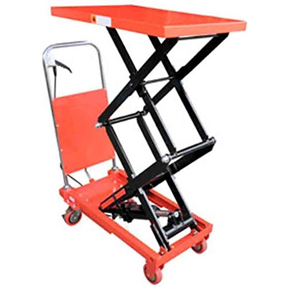 この骨折ぎこちない油圧式テーブル運搬車 KT-150HL 150kg 高上昇タイプ 足レバー踏み込み式なので重量を感じさせず高低の微調整が可能 和C 代不