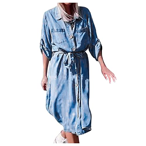 Mumuj Damen Kleid Sommerkleid Jeansrock Elegant Strandkleid Freizeitkleider Minikleid Einfarbiger Revers Langarmknopf Fliege Krawattenkleid...