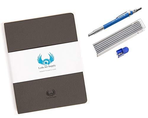 Leda Art Supply スケッチブック シャープナー付きメカニカル鉛筆 12ピース5Bの鉛詰め替え セット品 シャープペンシル mechanical pencil 鉛筆 削り 日記帳 自由帳 画用紙 正規輸入品