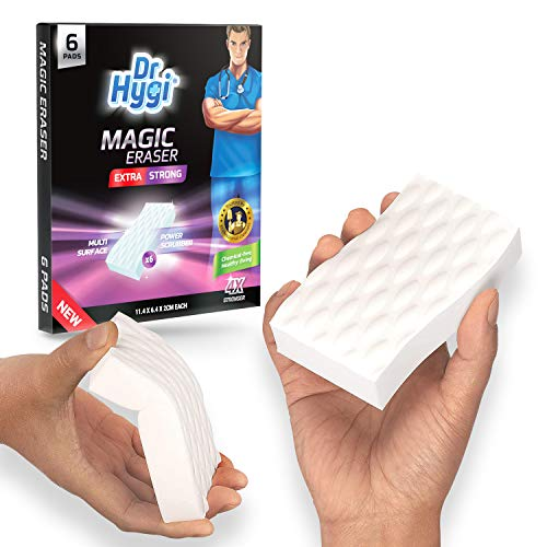 6 x Extra Strong Magic Erasers by Dr.Hygi | Magic Eraser Sponge Set for Mark and Stain Removal | Heavy-Duty Magic Sponge for All Surfaces | Magic Eraser Cleaning Sponges for Bathroom, Kitchen & Walls