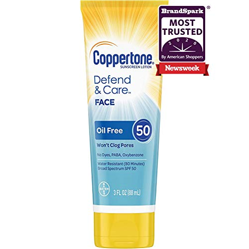 Coppertone Defend & Care Oil Free Sunscreen Face Lotion Broad Spectrum SPF 50 (3-Fluid Ounce)