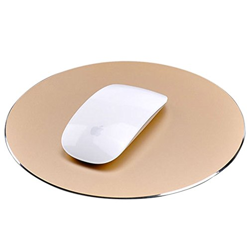 Round Mouse Pad LoiStu Round Aluminum Alloy Mouse Pad Winter and Summer Dual-Use Waterproof Antiski Matte Metal/High-Grade PU Leather Mouse Pad (Gold)
