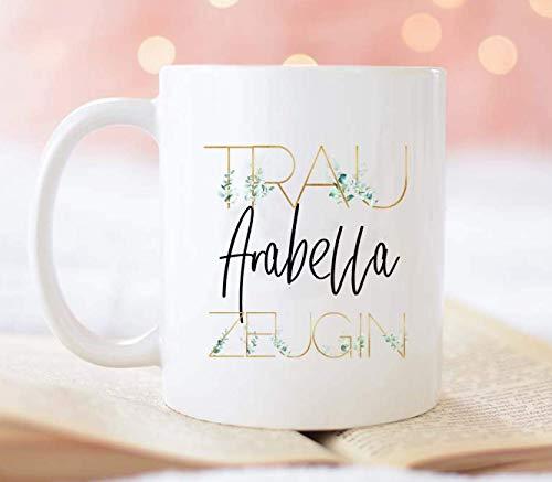 Geschenk Trauzeugin Tasse personalisiert mit Namen und Eukalyptus