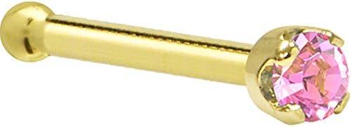 Solid 14k Yellow Gold 2mm Pink Cubic Zirconia Nose Stud Bone 18 Gauge 1 4 product image