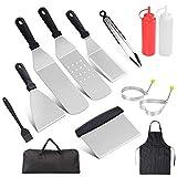 Rain Queen Barbecue Outils kit Bois et Acier Inoxydable Pince Palette à Gril spatule INOX Brosse à Barbecue Mallette Plancha Cuisine (13pcs+Housse)