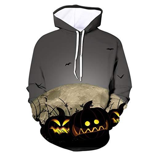 sunnymi  - Sudadera con capucha para hombre, estilo informal, Halloween, estampado de calabaza, manga larga A gris. L