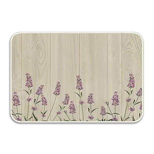 shenguang Aromatic Herbs on Wooden Planks Springtime Nature Botany Illustration Doormat Outdoor...