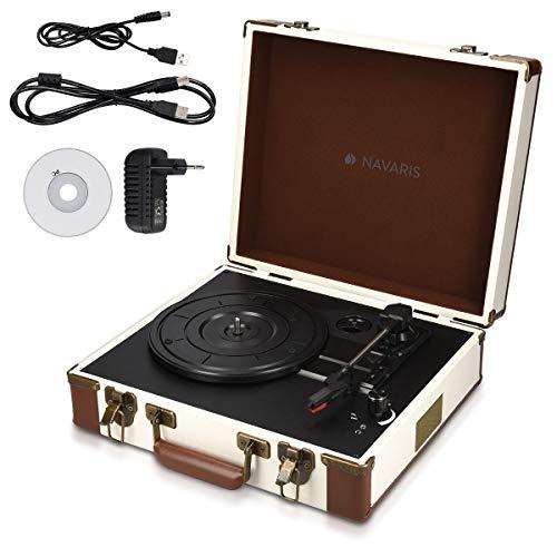 Navaris Tocadiscos Retro con Forma de Maleta - Giradiscos con Altavoces incorporados y grabación a MP3 - Tornamesa con Puerto USB en Crema-Marrón