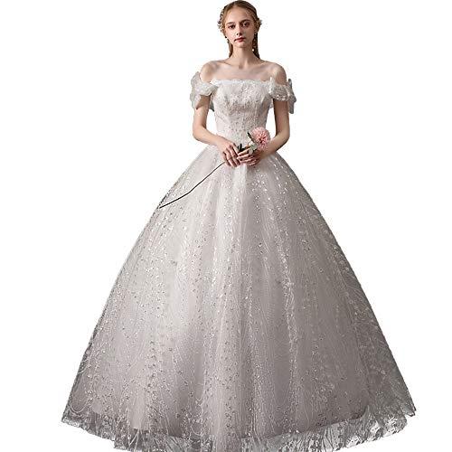 Zhengowen Hochzeitskleid Brautkleid Braut eine Schulter Luxuxhochzeits-Starry Minimalist Kleid Kleid Brautkleid (Farbe : White, Size : M)