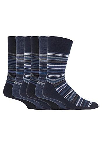 sockshop Gentle Grip 12 Paar Herren weiche Handgriff kein Socken elastisch 6-11 UK, 39-45 EU Streifen schwarz mgg49