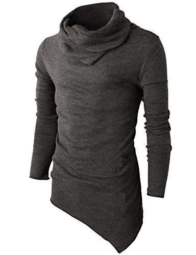 H2H Mens Casual Turtleneck Slim Fit Pullover Sweater Oblique Line Bottom Edge Charcoal US M/Asia L (KMTTL046)