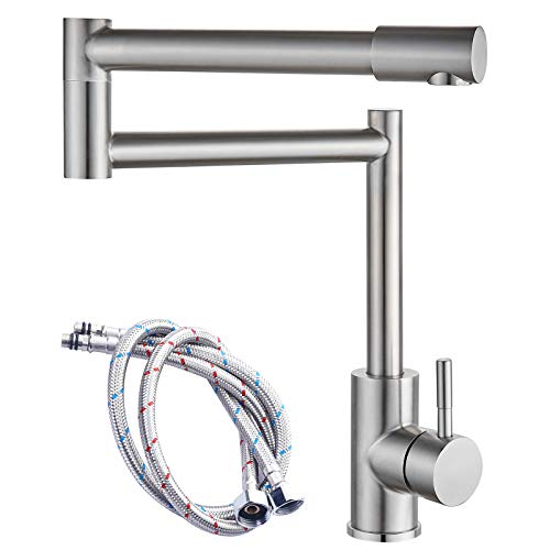 ABMILLY Brushed Nickel Pot Filler Faucet Deck Mounted Single Handle Double Joints Free Rotating Modern Deck Mounted Countertop Retractable Commercial Kitchen Sink Faucet Stainless Steel