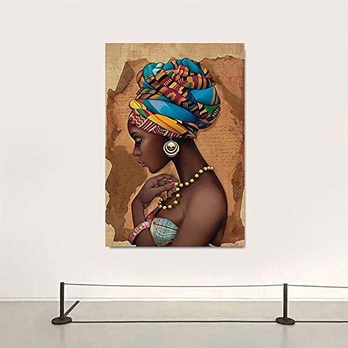 Mubaolei Cuadro en Lienzo Moderno para Mujer Africana, Pintura artística para Pared, Cuadros, Carteles e Impresiones, decoración de Pared para el hogar, Sala de Estar 60x80cm