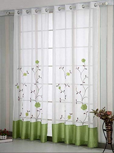 SIMPVALE 2 delar rena gardiner blommigt broderat draperi för vardagsrum sovrum balkong (grön, 2 paneler (BxL: 140 cm x 145 cm)