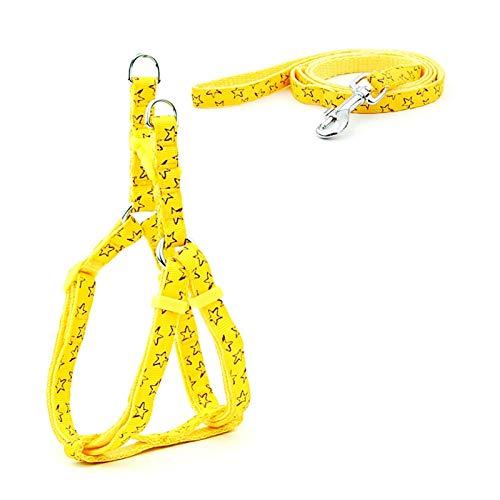 XXWW Cxwypd Cachorro Gato arnés cinturón Ajustable Chaleco Collar Cachorros al Aire Libre Caminar Chihuahua Perro Schnauzer (Color : Yellow Stars, Size : XS)