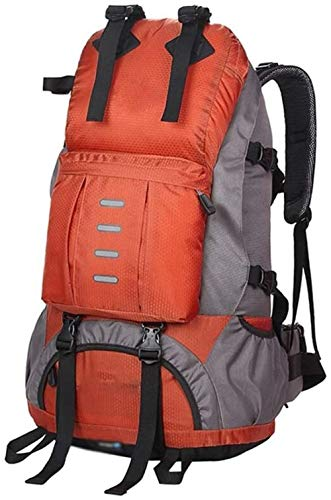 Backpacks Professional Mountaineering Bag Outdoor Backpack Hiking Camping Large-capacity Travel Bag 50L With Rain Cover Reflective Strip Independent Shoe Compartment Black-Orange