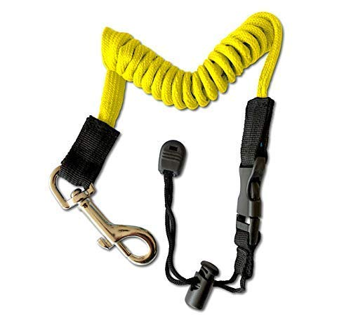 Expandable Coiled Leash for Kayak Canoe Paddles Oars and Accessories Also Safety Rod Leash Lanyard Fishing Rod Pole Stretches to 155cm/61.02in (Yellow)