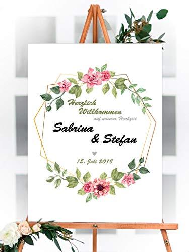 Willkommens Schild - Hochzeit, Party, Geburtstag, Feier | 100x75cm | personalisiert, individuell, mit Text