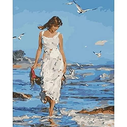 Xofjje Pintura por Números para Adultos_Mujer de Playa_DIY Pintura al óleo sobre Lienzo_Pintar por Numeros para Adultos Principiantes_40x50cm_Sin Marco