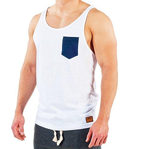 SMILODOX Tank Top Herren mit Brustasche | Muskelshirt ideal für Sport Gym Fitness & Bodybuilding | Muscle Shirt - Stringer - Tanktop - Unterhemd - Achselshirt, Farbe:Weiß/Blau, Größe:XL