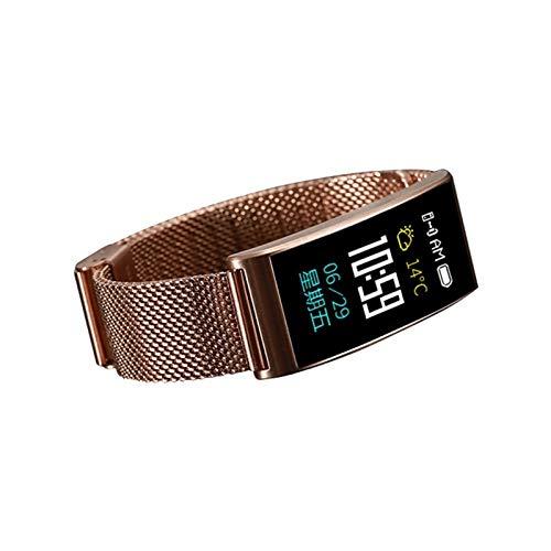 LXF JIAJU Pulsera Inteligente con Monitor De Sueño Podómetro Monitor De Ritmo Cardíaco Pantalla Táctil Tracker para Hombres Mujeres (Color : X3 Gold Steel)