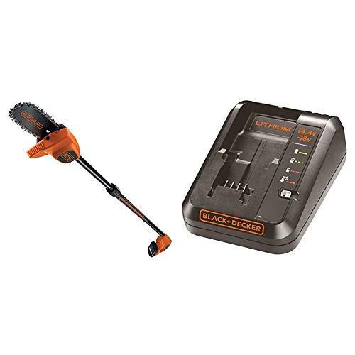 BLACK+DECKER GPC1820L20-QW - Motosierra telescópica a batería 18V, 2Ah, espada 20 cm + BDC1A-QW - Cargador para baterías de litio 14.4 y 18V