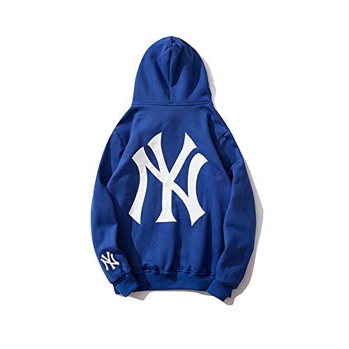XCBW Unisex MLB NY Yankees Hoodie Herren und Damen Sweatshirt 100% Fleece Langarm Freizeit Sport Baseball Uniformen, Lose Jacke, Mit Tasche,Blau,M