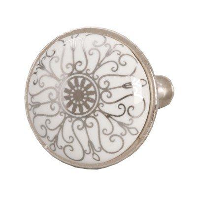 Clayre & Eef Knauf Ornament grau Silber Möbelknopf Metall