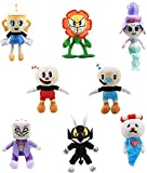 8 Pcs Cuphead Plush Toys Cuphead Mecup and Brocup Devil Boss Legendary Chalice King Dice Sunflower Stuffed Dolls Cosplay Gift 20-36cm