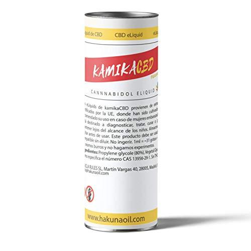E-Liquid Premium KamikaCBD 2,5% | 10 ml | 250 mg | Extracto de Cañamo 100% Natural | Líquido para Cigarillo Electrónico (Plátano Canario)