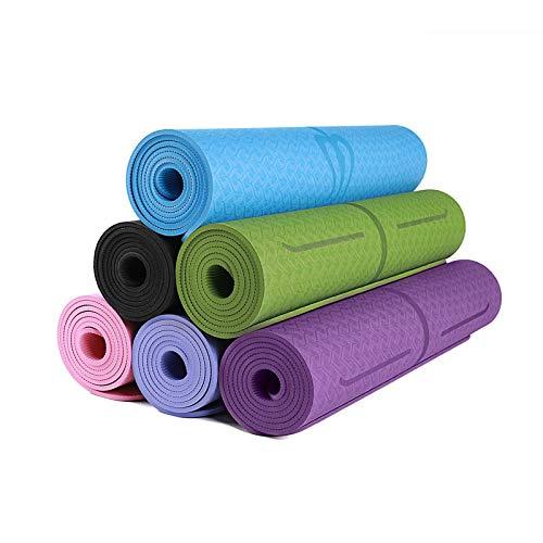 TPE doppio strato bicolore tappetino yoga, tappetino antiscivolo eco-friendly 183*80*0.6cm Viola