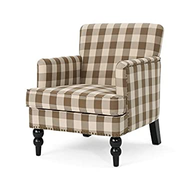 Christopher Knight Home Evete Tufted Fabric Club Chair, Brown Checkerboard, Dark Brown