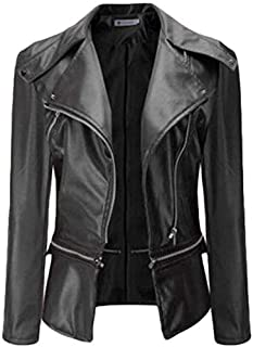 Womens Zip-Up Motorcycle Faux Leather Lapel Jackets Black US Small
