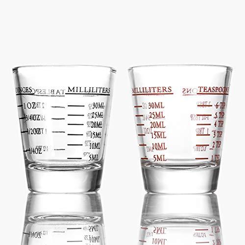 Beautyflier Shot Glasses Measuring cup Liquid Heavy Glass Wine Glass Espresso Shot Glass 26-Incremental Measurement 1oz, 6 Tsp, 2 Tbs, 30ml