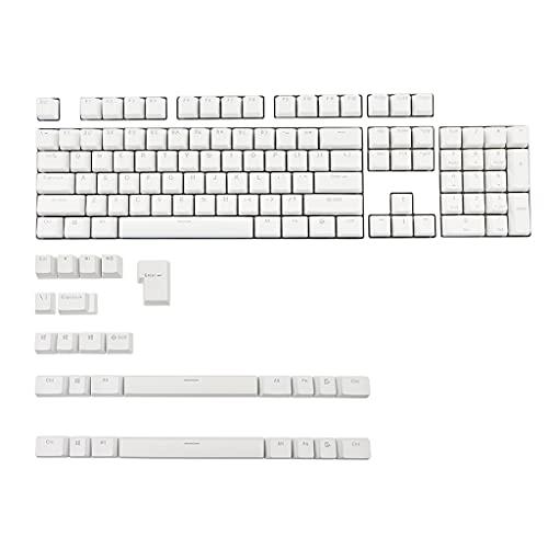 SweetWU Tastenkappen für Corsair STRAFE K65 K70 Logitech G710+ Mechanische Tastatur Razer Keycap mit 131 Tasten, PBT Double Shot, Hintergrundbeleuchtung, Weiß