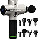 Deep Tissue Percussion Massage Gun - Handheld Body and Muscle Massager for Athletes - 8 Heads - 5200 mAh - 9 Speeds, 1800-3500 Percussions, 12mm Amplitude - Silver
