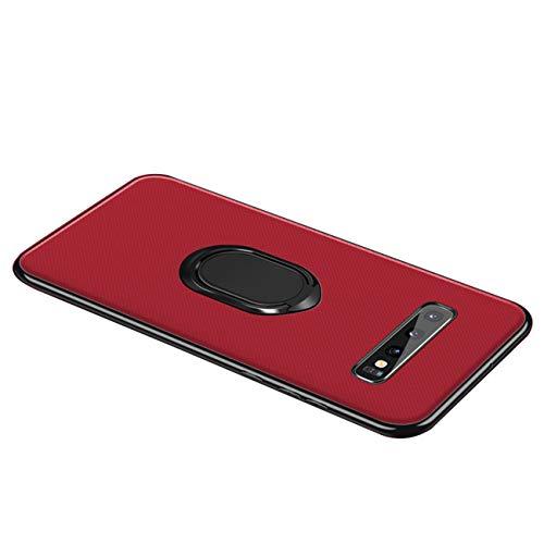Funda para Samsung Galaxy S10/Galaxy S10 Plus Teléfono Móvil Silicona Bumper Case Funda con Anillo Giratorio de 360 Grados Rotaria Ring Holder Protectora Caso (Samsung Galaxy S10, Rojo2)