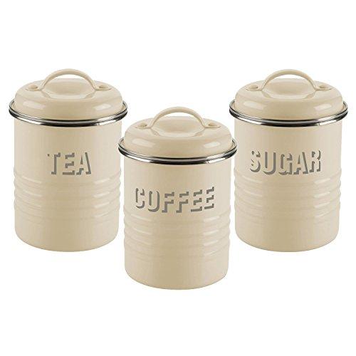 Typhoon Vintage Boîte à thé, café et sucre 3 pièces Crème