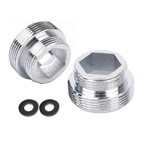 HATOOLHA - Adaptador de grifo de metal sólido para cocina (2 unidades, conector de latón para aireador de grifos de cocina (F16 a M22)