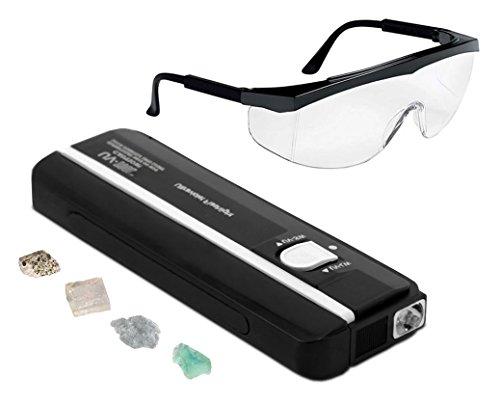 4 Watt Affordable Handheld Short Wave (254nm) - Long Wave (375nm) Ultra Violet Lamp w/Fluorescent Mineral Rock Samples & Safety Glasses