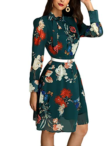 Ninimour Women Bowtie Neck Long Sleeve Casual Floral Dress Green L
