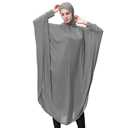 Lazzboy Muslim Daily Feste Langarm Lange Vintage Kleider Khimar Mit Niqab Option - Langer Hijab Integriertem Haarband Hält Praktisches Kopftuch Für Muslimische Frauen(Grau,XL)