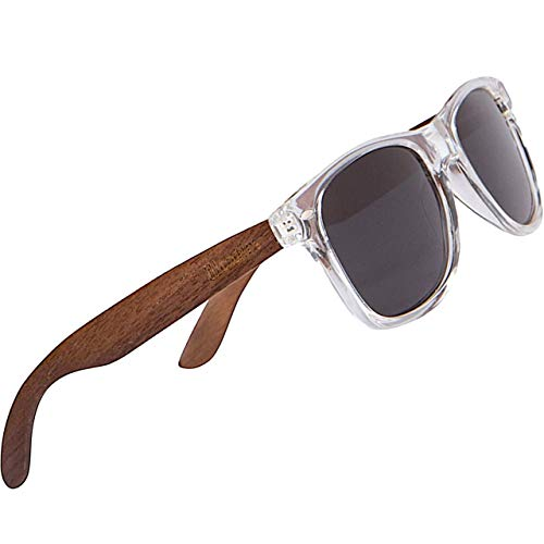 WOODIES Polarized Walnut Wood Sunglasses for Men and Women   Clear Frame...