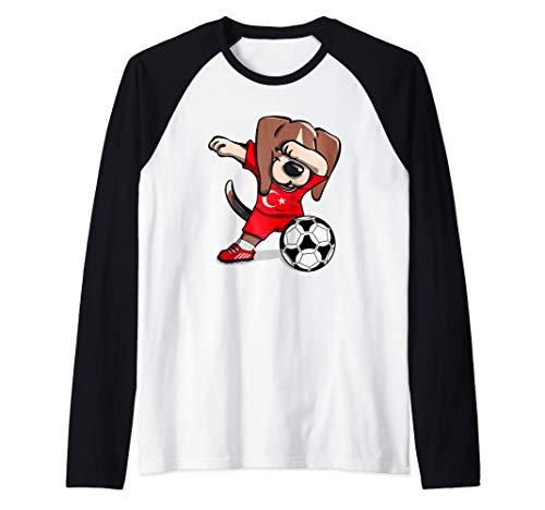 Funny Dabbing Beagle Dog Turquía Fútbol - Bandera turca Camiseta Manga Raglan