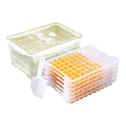 IJsblokjesbakken met deksel – 5 stuks kleine ijsblokjesvorm met opbergdoos en ijsblokje, ijsblokjesmaker voor vriezer, babyvoeding, water, whisky, cocktail Capacity: 9.5L Groen