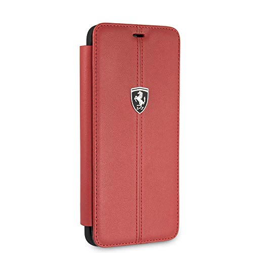Ferrari Wallet Case for Samsung Galaxy S9 Hard Case Genuine Leather with Business Card Holder/Debit or Credit Card Slots Easy Snap-on Shock Absorption Cover Officially Licensed.(Red)