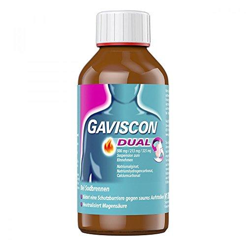 GAVISCON Dual 500 mg / 213 mg / 325 mg Suspension – Bei Sodbrennen und Magendruck – Wirkt bis zu 4 Stunden – 300 ml Flasche