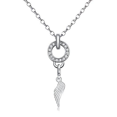 Morella Edelstahl Charms Halskette 70 cm mit Charms Anhänger Engelsflügel in Samtbeutel