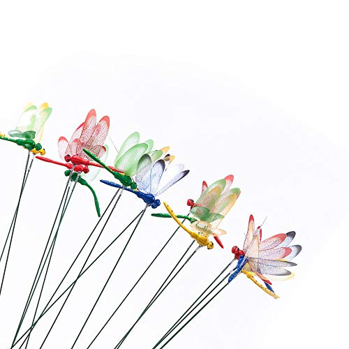 VVU 20 Pieces 3D Plug Simulation Dragonfly Patio Ornaments Magnet Gardening Decoration Dragonflies Stakes with Sticks
