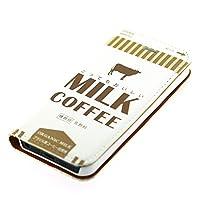iphone7 ケース 手帳型 ミルクコーヒー レザーケース ミルク milk おもしろ パロディ おしゃれ ほぼ全機種対応 iphoneカバー(iPhone7用)